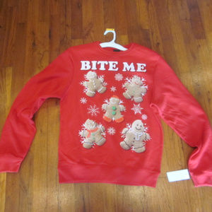 NWT Bite Me Ugly Christmas Sweater Red Gingerbread